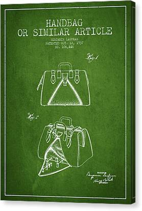 Handbag Or Similar Article Patent From 1937 - Green Canvas Print by Aged Pixel