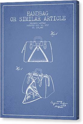 Handbag Or Similar Article Patent From 1937 - Light Blue Canvas Print by Aged Pixel