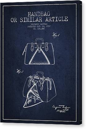 Handbag Or Similar Article Patent From 1937 - Navy Blue Canvas Print by Aged Pixel