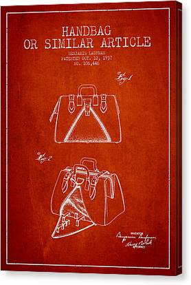 Handbag Or Similar Article Patent From 1937 - Red Canvas Print by Aged Pixel