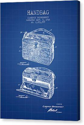 Handbag Patent From 1936 - Blueprint Canvas Print by Aged Pixel