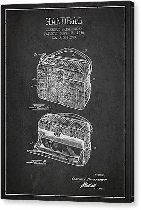 Handbag Patent From 1936 - Charcoal Canvas Print by Aged Pixel