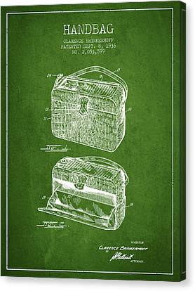 Handbag Patent From 1936 - Green Canvas Print by Aged Pixel