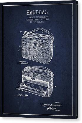 Handbag Patent From 1936 - Navy Blue Canvas Print by Aged Pixel
