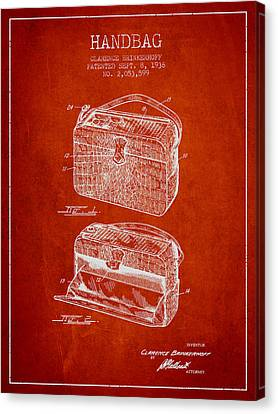 Handbag Patent From 1936 - Red Canvas Print by Aged Pixel