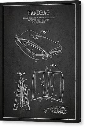 Handbag Patent From 1937 - Charcoal Canvas Print by Aged Pixel
