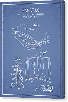 Handbag Patent From 1937 - Light Blue Canvas Print by Aged Pixel