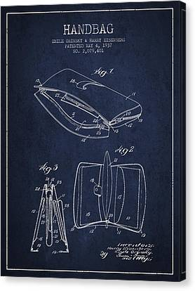 Handbag Patent From 1937 - Navy Blue Canvas Print by Aged Pixel