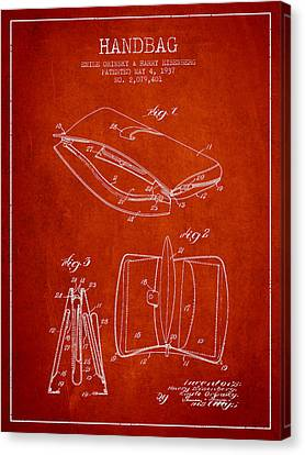 Handbag Patent From 1937 - Red Canvas Print by Aged Pixel