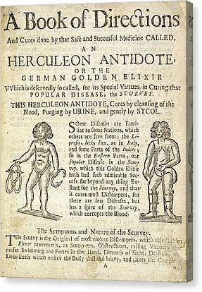 Handbill For Scurvy Cure Canvas Print by British Library