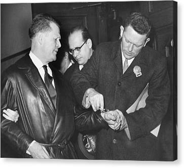 Handcuffs For Jimmy Hoffa Canvas Print by Underwood Archives