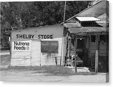 Handpainted Icon Canvas Print - Handpainted Sign Shelby Store B W by Connie Fox