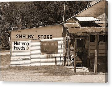 Handpainted Icon Canvas Print - Handpainted Sign Shelby Store  by Connie Fox