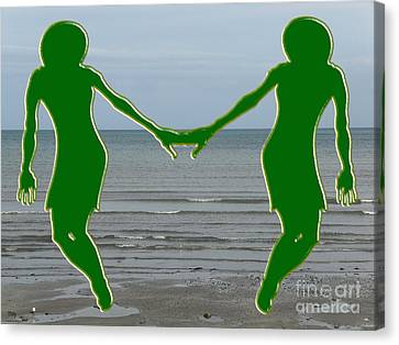 Hands Across The Ocean Canvas Print