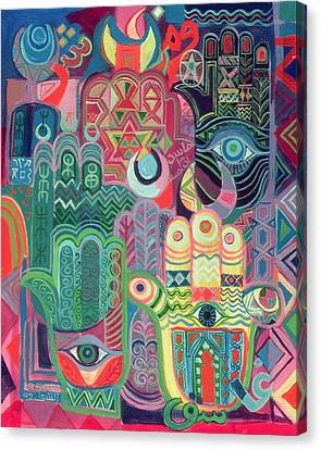 Hands As Amulets II, 1992 Acrylic On Canvas Canvas Print by Laila Shawa