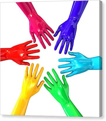 Hands Colorful Circle Reaching Inwards Canvas Print by Allan Swart