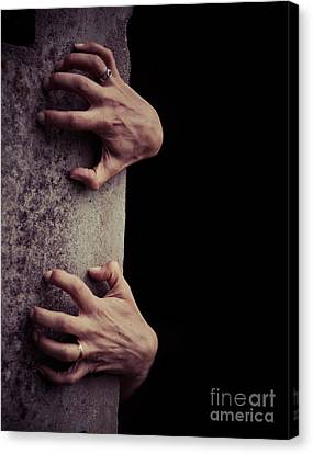 Hands Crawling Out Of The Darkness Canvas Print by Edward Fielding