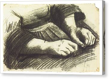 Hands In Repose Canvas Print by Vincent Van Gogh