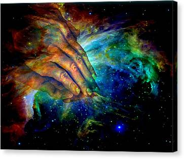 Jesus Canvas Print - Hands Of Creation by Evelyn Patrick