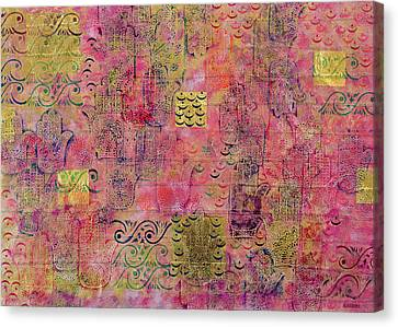 Hands Of Fatima With Crescent Moon And Stars Canvas Print by Laila Shawa