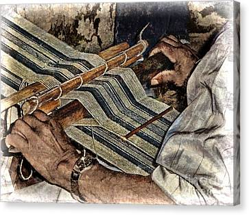 Hands Of The Weaver Canvas Print by Julia Springer
