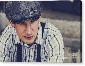 Handsome Fashionable Man In Vintage Apparel Canvas Print