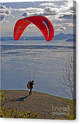 Hang Glider Person Ready To Jump Off Cliff Canvas Print by Valerie Garner