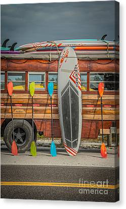 Hang Ten - Vintage Woodie Surf Bus - Florida - Hdr Style Canvas Print by Ian Monk