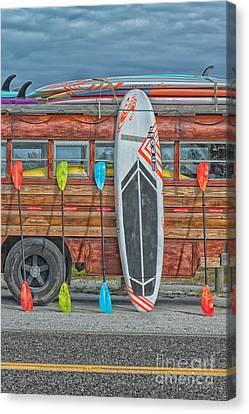 Hang Ten - Vintage Woodie Surf Bus - Florida Canvas Print by Ian Monk