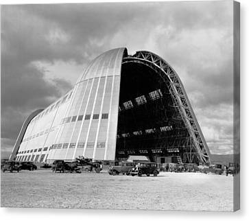 Hangar One At Moffett Field Canvas Print by Underwood Archives