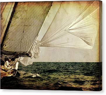 Canvas Print featuring the photograph Hanged On Wind In A Mediterranean Vintage Tall Ship Race  by Pedro Cardona