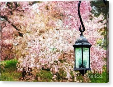 Hanging Lamp And Spring Flowers Canvas Print by Nishanth Gopinathan