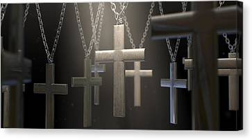 Hanging Metal Crucifixes  Canvas Print by Allan Swart