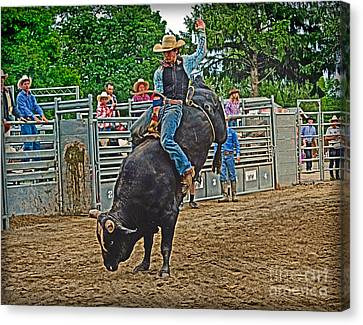 Cattle Run Canvas Print - Hanging-on by Gary Keesler