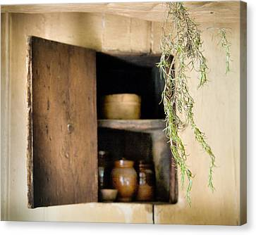 Hanging Spice And Cupboard - Rosemary - Cottage Chic Canvas Print by Gary Heller