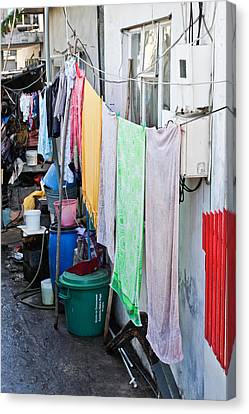 Hanging Towels Canvas Print by Tom Gowanlock