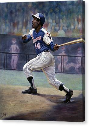 Dodgers Canvas Print - Hank Aaron by Gregory Perillo
