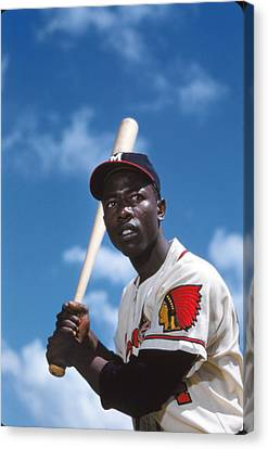 Hank Aaron Of The Milwaukee Braves Canvas Print by Retro Images Archive