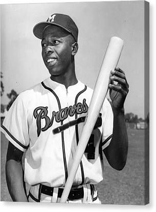 National League Canvas Print - Hank Aaron Poster by Gianfranco Weiss