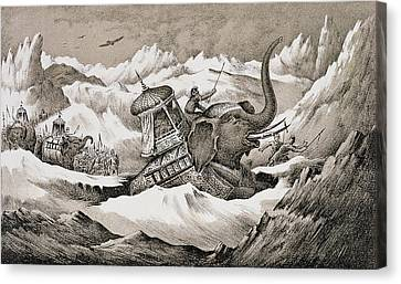Hannibal And His War Elephants Crossing Canvas Print by English School