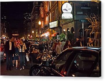 Hanover Street Nights - Boston Canvas Print by Joann Vitali