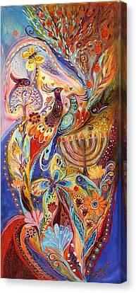 Hanukkah In Magic Garden Canvas Print by Elena Kotliarker