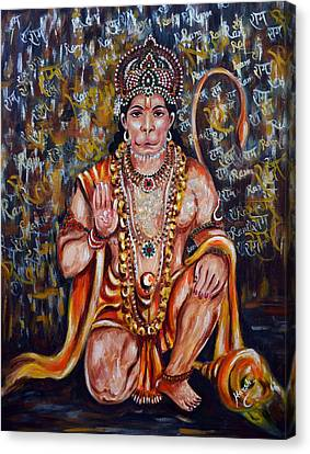 Canvas Print featuring the painting Hanuman by Harsh Malik