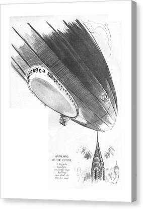Building Canvas Print - Happening Of The Future A Zeppelin Bound by Garrett Price