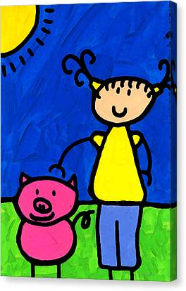 Happi Arte 1 - Girl With Pink Pig Art Canvas Print by Sharon Cummings