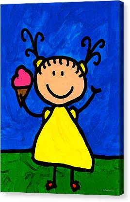Happi Arte 3 - Little Girl Ice Cream Cone Art Canvas Print by Sharon Cummings