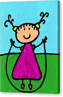 Happi Arte 7 - Girl On Jump Rope Art Canvas Print by Sharon Cummings