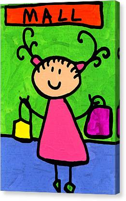 Happi Arti 5 - Shopaholic Little Girl Art Canvas Print by Sharon Cummings