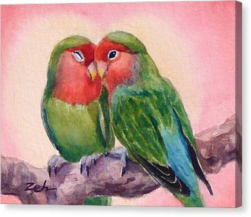 Happiness Forever Lovebirds Canvas Print