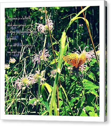 Happiness Is A Butterfly Canvas Print by Poetry and Art